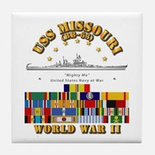 USS Missouri - WWII w SVC Ribbons Tile Coaster