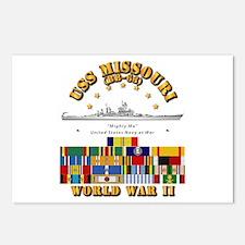 USS Missouri - WWII w SVC Postcards (Package of 8)