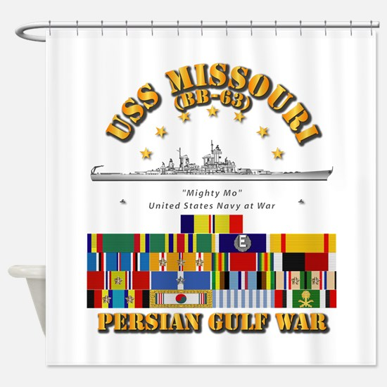 USS Missouri - Persian Gulf War w S Shower Curtain