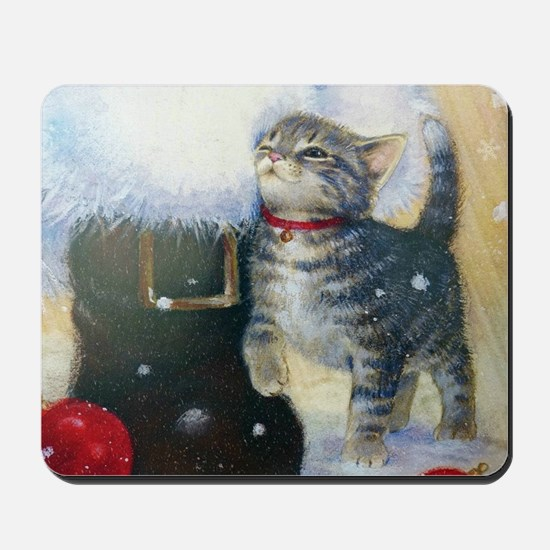 Kitten at Santa's Boot Mousepad
