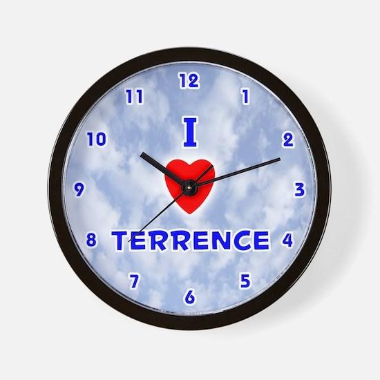 I Love Terrence (Blue) Valentine Wall Clock