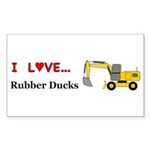 I Love Rubber Ducks Sticker (Rectangle 10 pk)