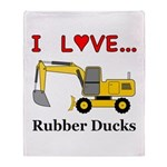 I Love Rubber Ducks Throw Blanket