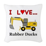 I Love Rubber Ducks Woven Throw Pillow