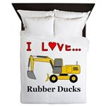 I Love Rubber Ducks Queen Duvet