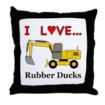 I Love Rubber Ducks Throw Pillow