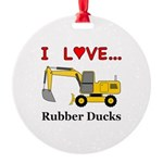 I Love Rubber Ducks Round Ornament