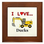 I Love Ducks Framed Tile