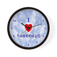I Love Thaddeus (Blue) Valentine Wall Clock