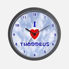 I Love Thaddeus (Blue) Valentine Wall Clock