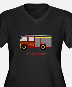 Personalized Fire Engine Design Plus Size T-Shirt