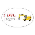 I Love Diggers Sticker (Oval 50 pk)