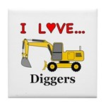 I Love Diggers Tile Coaster