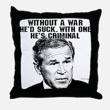 Bush and War Throw Pillow