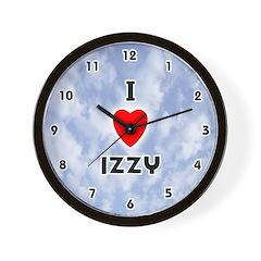 I Love Izzy (Black) Valentine Wall Clock