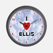 I Love Ellis (Red/Blk) Valentine Wall Clock