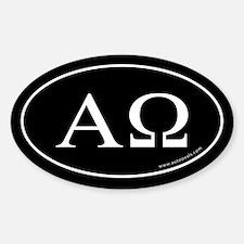 Alpha and Omega Sticker -Black (Oval)