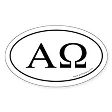 Alpha and Omega Sticker -White (Oval)