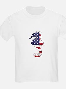 Seahorse - American Flag T-Shirt