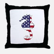 Seahorse - American Flag Throw Pillow