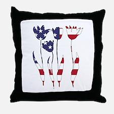 American Flag - Tulips Throw Pillow