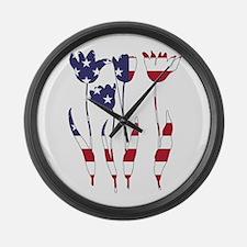 American Flag - Tulips Large Wall Clock