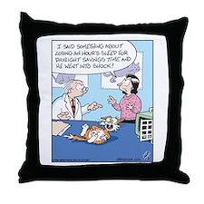 Daylight Savings Time Cat Throw Pillow