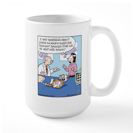 Daylight Savings Time Cat Large Mug