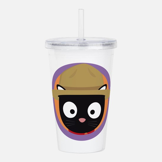 Park ranger cat in pur Acrylic Double-wall Tumbler