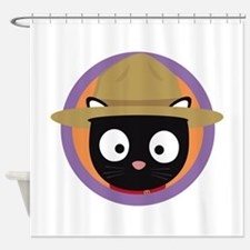Park ranger cat in purple circle Shower Curtain