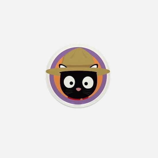Park ranger cat in purple circle Mini Button