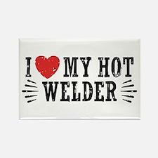 I Love My Hot Welder Rectangle Magnet