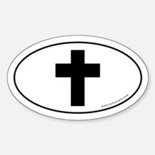 Cross (Crux Immissa) Sticker -White (Oval)