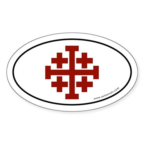 Jerusalem Cross Sticker -Red Logo (Oval)