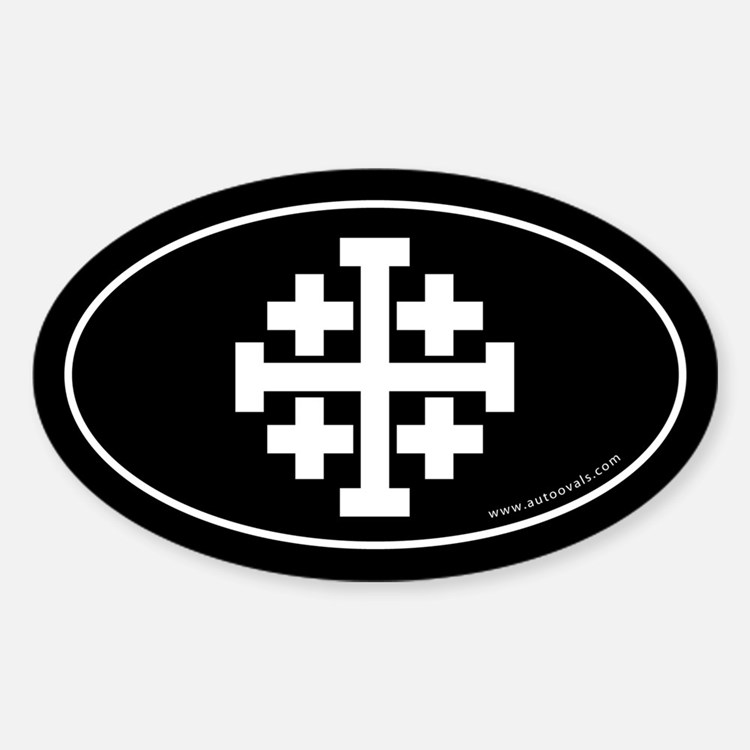 Jerusalem Cross Sticker -Black (Oval)