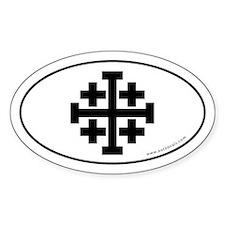 Jerusalem Cross Sticker -White (Oval)
