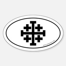 Jerusalem Cross Sticker -White (Oval)