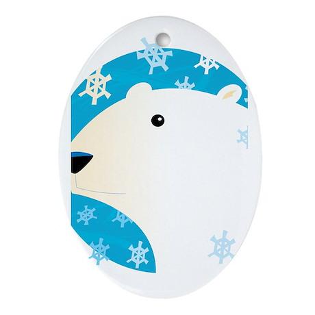 Winter Polar Bear Oval Ornament