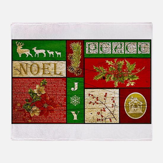 Vintage Holiday collage Throw Blanket