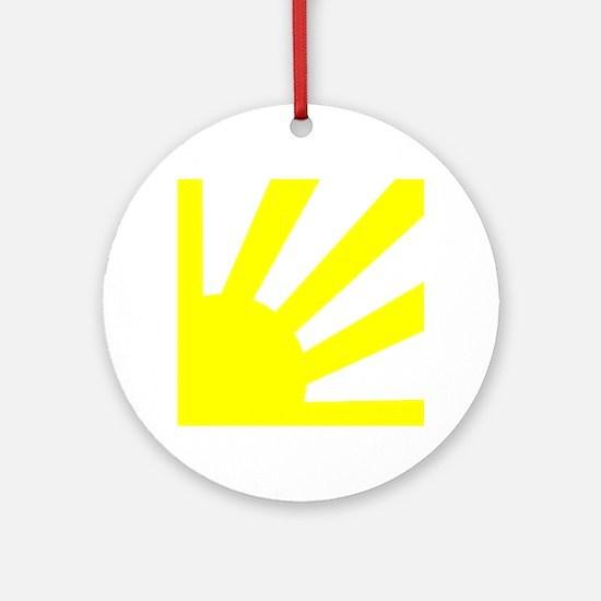 Yellow Sunburst Round Ornament