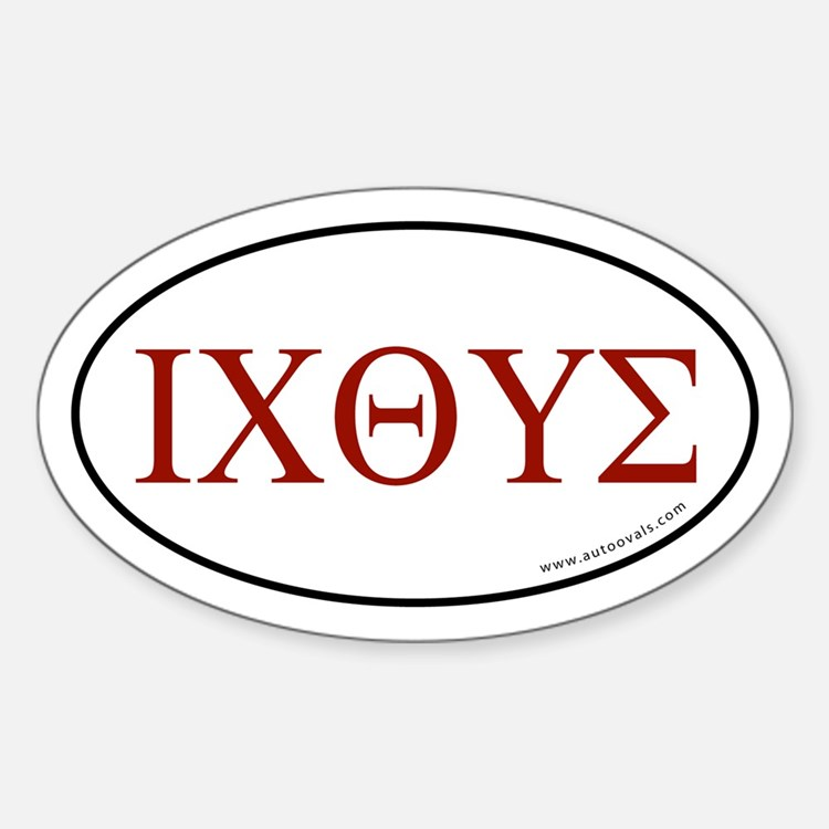 Greek Fish Sticker -Red Letter (Oval)