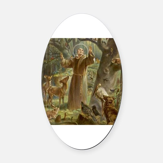 Cute St. francis Oval Car Magnet