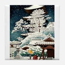 Cool Japanese Oriental Snow Winter Tile Coaster