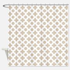 Brown, Beige: Quatrefoil Stars & Cr Shower Curtain