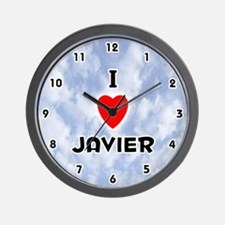 I Love Javier (Black) Valentine Wall Clock
