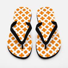 Orange: Quatrefoil Stars & Crosses Patt Flip Flops
