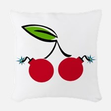 Cherry Bomb Woven Throw Pillow