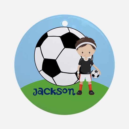 Soccer Kid Custom Round Ornament