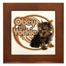 Obey the Yorkie Framed Tile