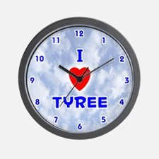 I Love Tyree (Blue) Valentine Wall Clock